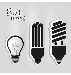 three styles of labels bulb isolated on black back vector image