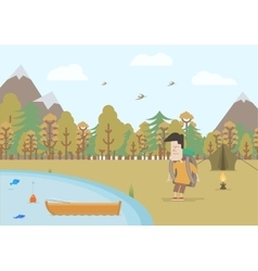 Tourist fishing in fall vector