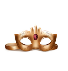 venetian face mask with red gem vector image