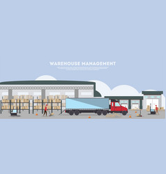 warehouse management banner in flat design vector image