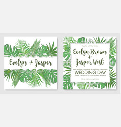 watercolor template set foliage frame wedding vector image