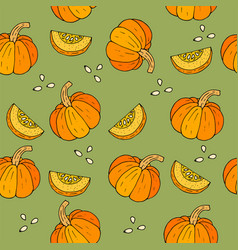 Webseamless halloween background with pumpkins vector