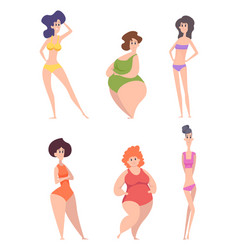 Woman body types female bodies thin tall fat vector