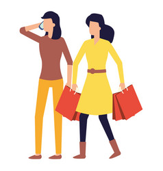 woman using smartphone and woman with shopping vector image