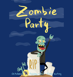 Zombie party poster with happy undead man vector