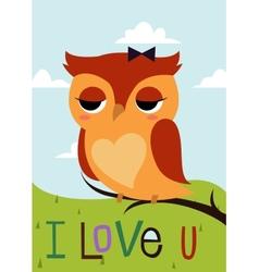 Cartoon owl on a tree branch card vector image vector image