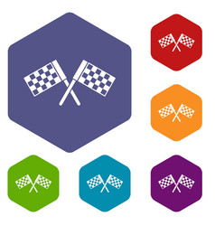 crossed chequered flags icons set vector image