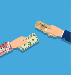 people holding ticket money in hands vector image vector image