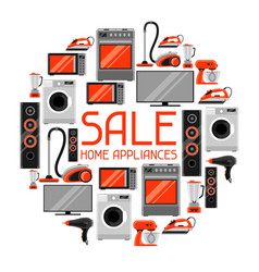 sale background with home appliances household vector image vector image
