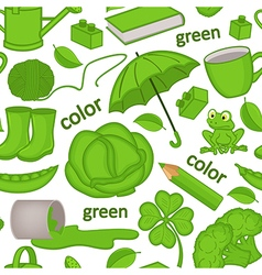 Seamless pattern with green objects vector