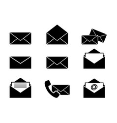 set of envelopes letters icons vector image vector image