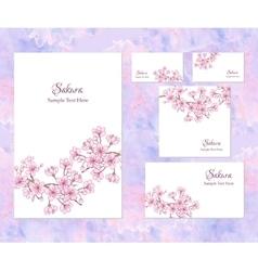 Template corporate identity with sakura vector image