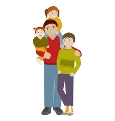 Father with three children Cartoon vector image
