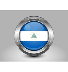 Flag of Nicaragua Metal and Glass Round Icon vector image