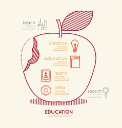 Flat linear Infographic Education Apple Outline vector image