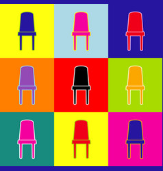 office chair sign pop-art style colorful vector image