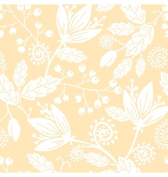 Yellow and white silhouettes flowers seamless vector image vector image