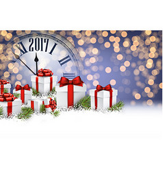 2017 New Year background with gifts vector image