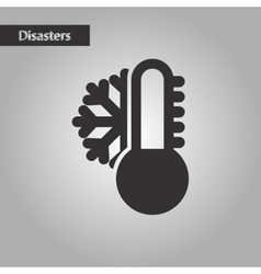 Black and white style thermometer cold weather vector