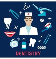 Dentistry concept with dentist and dental elements vector image vector image
