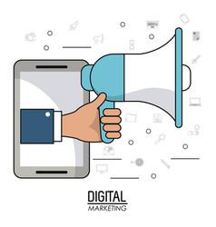 hand holding speaker smartphone digital marketing vector image