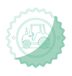 isolated tractor round icon vector image vector image