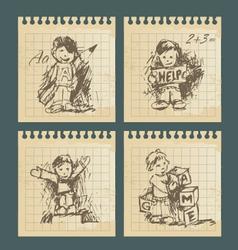 kids - set of vintage drawings vector image vector image