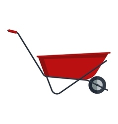 Red flat gardening wheelbarrow isolated on white vector image