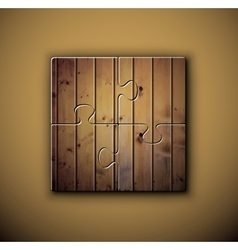 Wooden background on puzzle vector image vector image