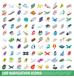 100 navigation icons set isometric 3d style vector image