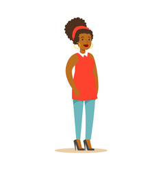 casual african american girl in casual clothes vector image vector image