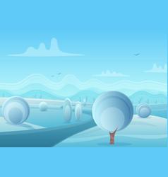 christmas cartoon winter nature landscape vector image vector image