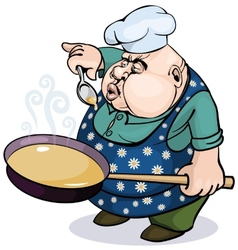 Fat cook with a pan vector image vector image