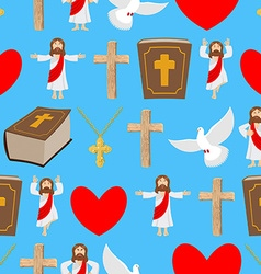 Holy background Biblical seamless pattern Jesus vector image