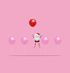 outstanding santa claus rises above with balloon vector image vector image