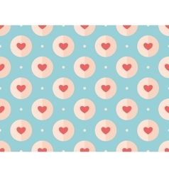 Seamless pattern of red hearts on a turquoise vector image vector image