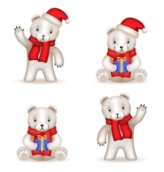 Teddy Bear cub new year Realistic 3d icons set vector image vector image