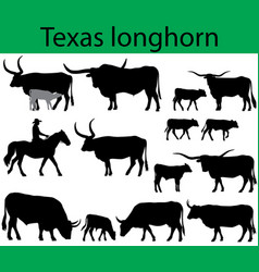 texas longhorn cattle silhouettes vector image vector image