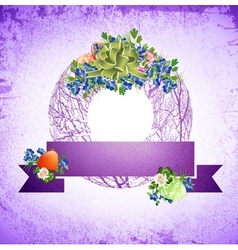 Vintage Easter Decorative Wreath vector image vector image