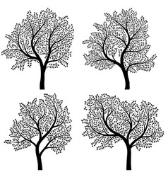 abstract silhouettes of trees with leaves vector image