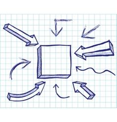 Arrows and frames sketchy elements vector