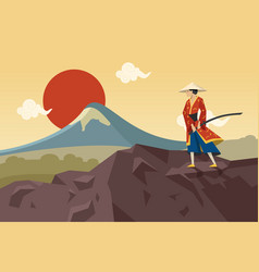 Asian warrior with sword walking in mountains vector