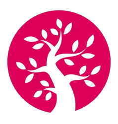 Autumn tree round icon vector