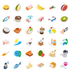 Bakeshop icons set isometric style vector