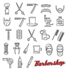 Barber shop salon outline icons monochrome vector