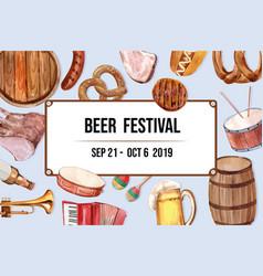 Beer bucket sausage pretzel entertainment frame vector