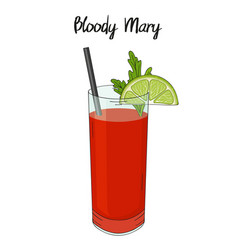 Bloody mary cocktail with lime decorations vector