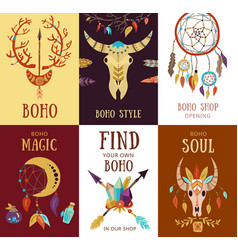 Boho elements cards set vector