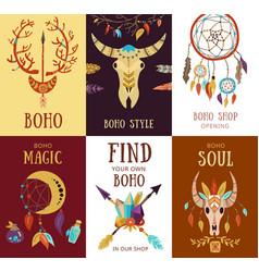 Boho elements cards set vector