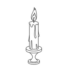 burning candle from paraffin wax easter single vector image